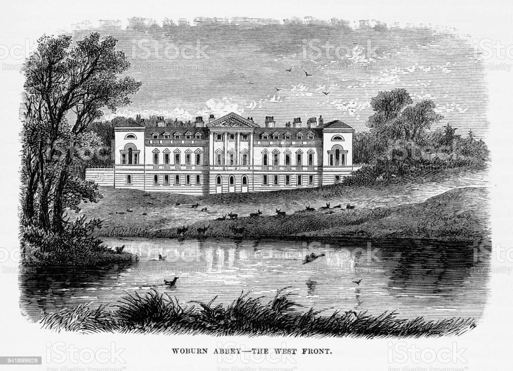 Woburn Abbey in Woburn, England Victorian Engraving, Circa 1840 vector art illustration