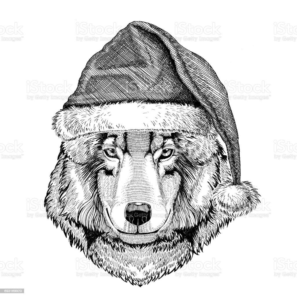 Ilustración de Perro Lobo Usando La Víspera De Año Nuevo Sombrero De ...