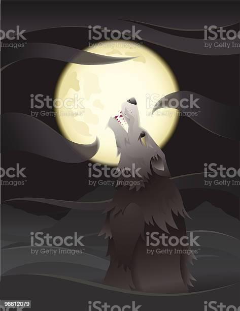 Wölfe Die Den Mond Anheulen Stock Vektor Art und mehr Bilder von Dunkel