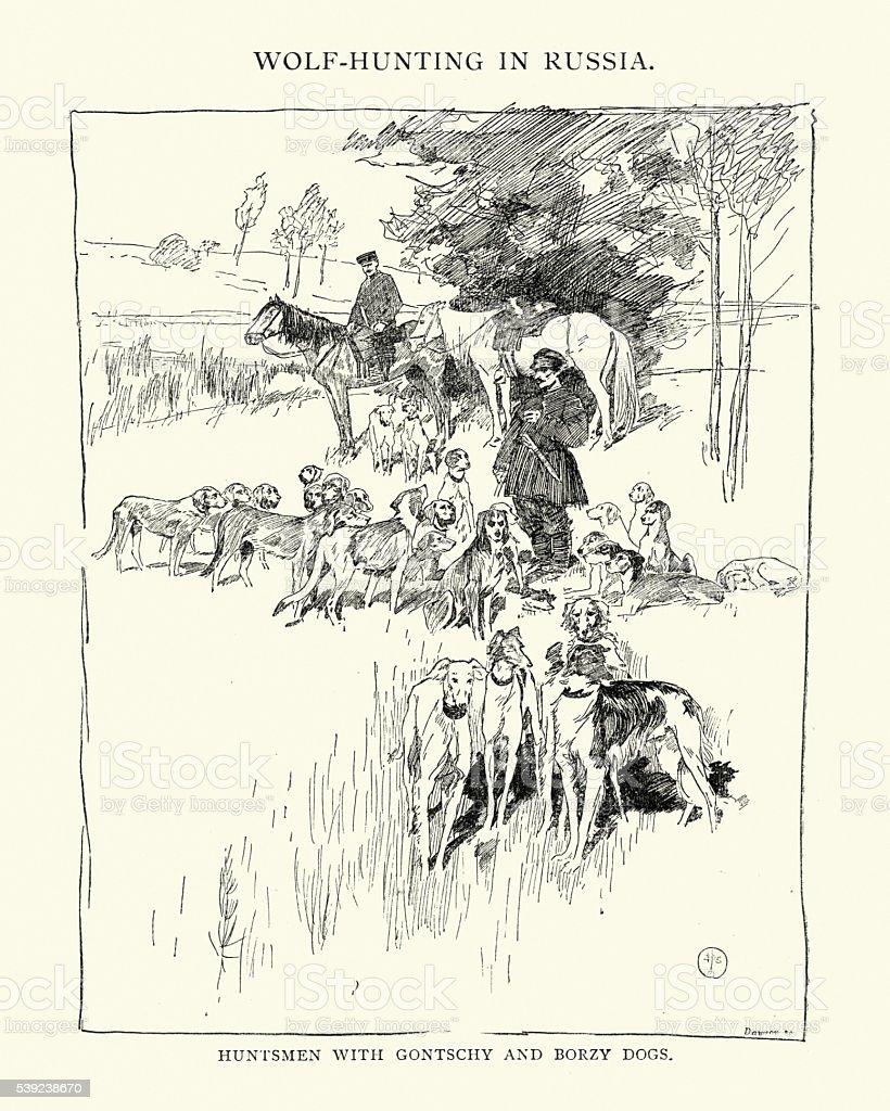 Lobo caza en Rusia, siglo XIX ilustración de lobo caza en rusia siglo xix y más banco de imágenes de 1890-1899 libre de derechos