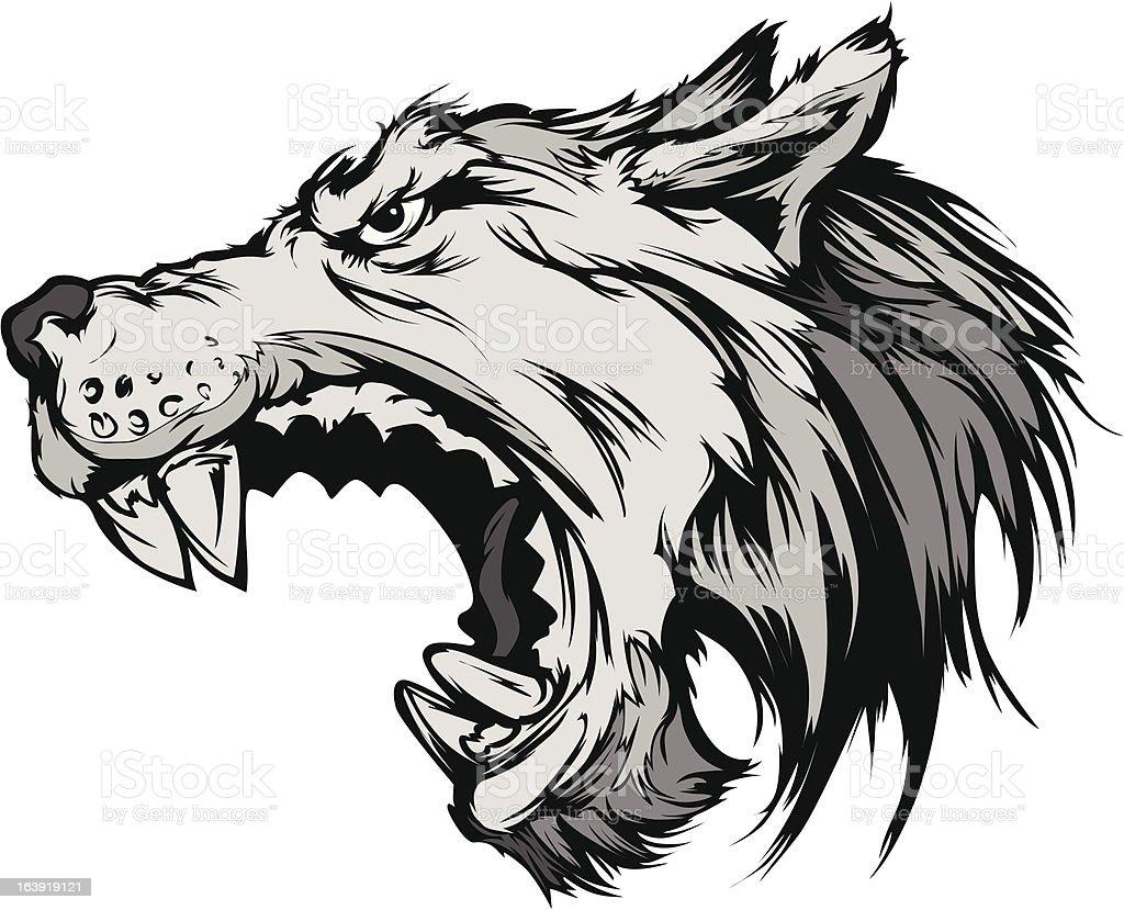 Wolf Mascot Head Vector Cartoon