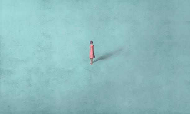bildbanksillustrationer, clip art samt tecknat material och ikoner med kvinna ensam i blått - konststilar
