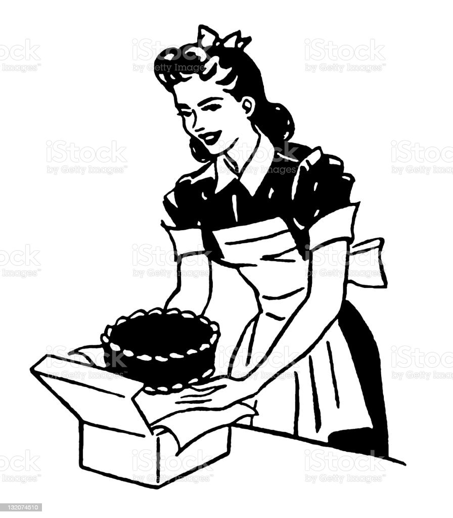 Woman and Cake vector art illustration