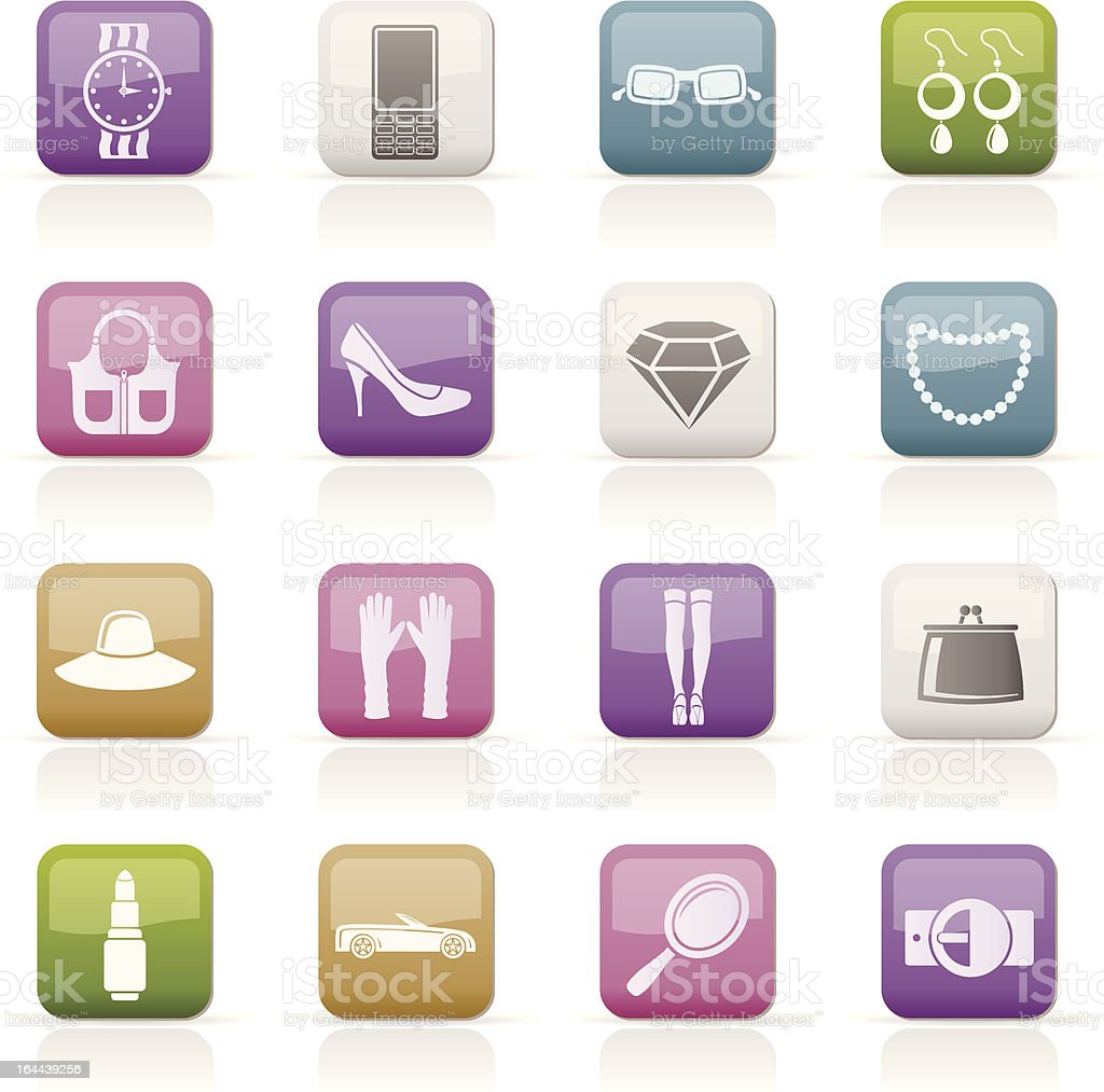 woman and female Accessories icons royalty-free stock vector art
