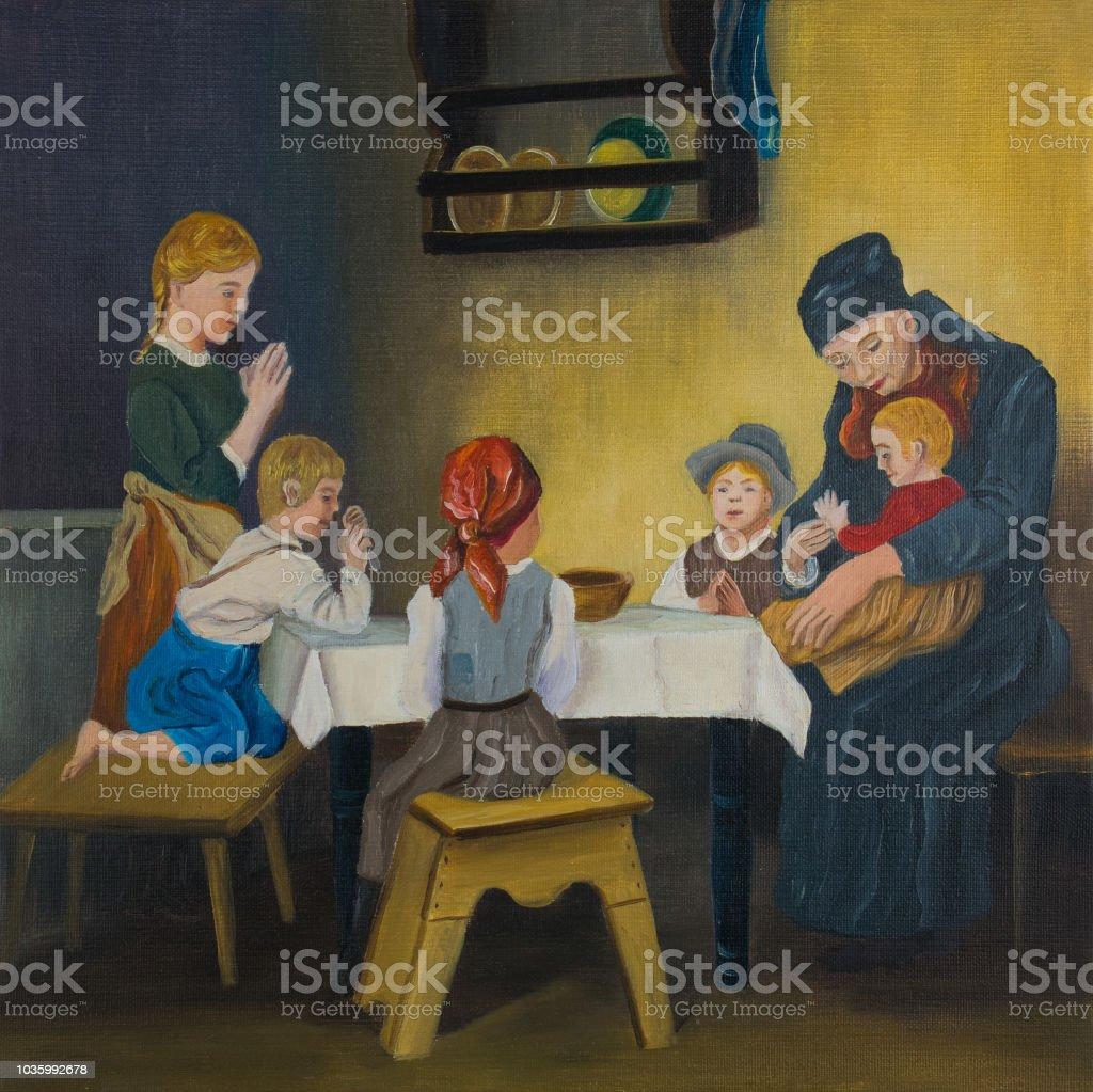 Bir Kadın Ve Tablo Dua Beş çocuk Stok Vektör Sanatı 13 19 Yaş