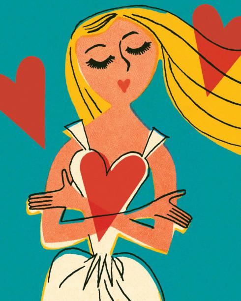 illustrations, cliparts, dessins animés et icônes de femme et coeurs - femme seule s'enlacer