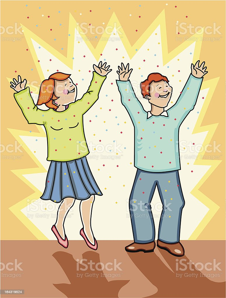 Woman and man celebrating! royalty-free stock vector art