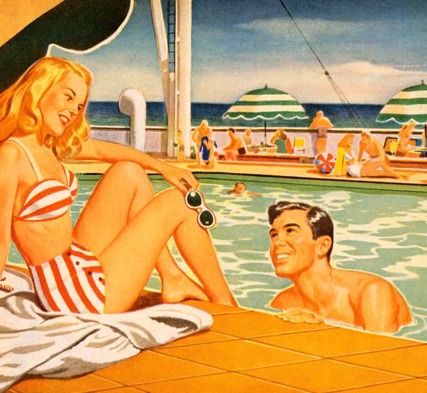 ilustrações de stock, clip art, desenhos animados e ícones de mulher e homem namorar na piscina - tronco nu