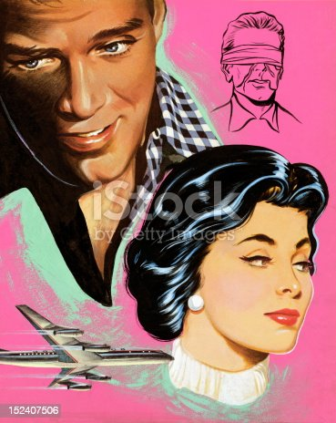 istock Woman and Man With Airplane and Blindfolded Man 152407506