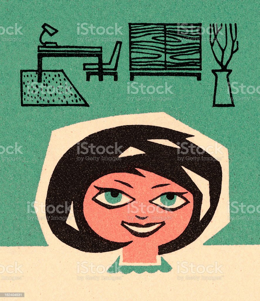 Woman and Mid-Century Furniture royalty-free stock vector art