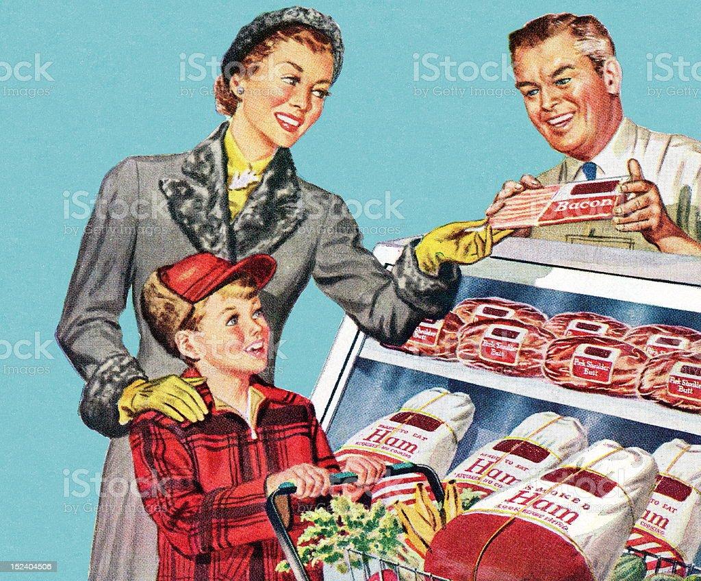 Femme et Son fils à the Butcher Shop - Illustration vectorielle