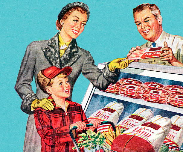 woman and son at the butcher shop - retail worker stock illustrations, clip art, cartoons, & icons