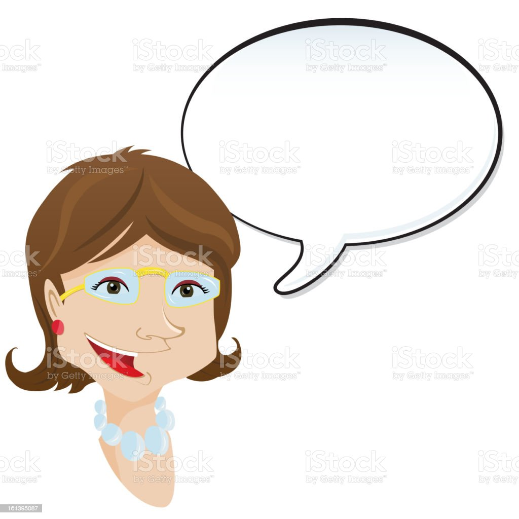 Woman announcement with speech bubble. royalty-free stock vector art