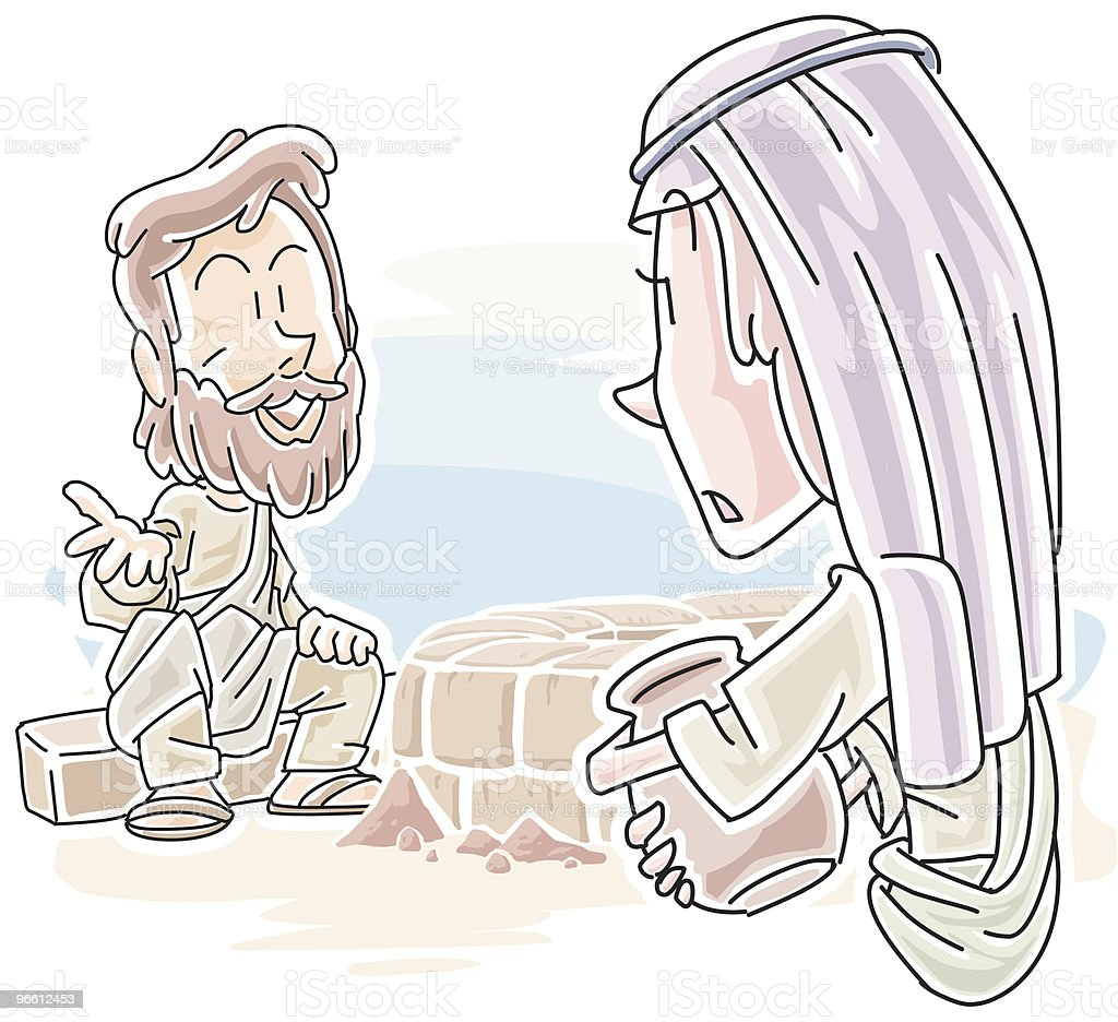Woman at Jacob's well - Royaltyfri Bibel vektorgrafik