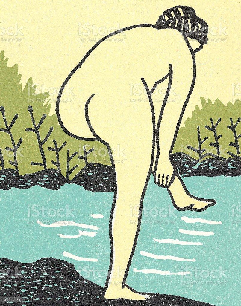 Woman Bathing at Waters Edge royalty-free stock vector art