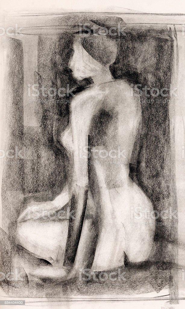 Ilustracion De Mujer Cuerpo Estudio Dibujo Al Carbon Y Mas Banco De