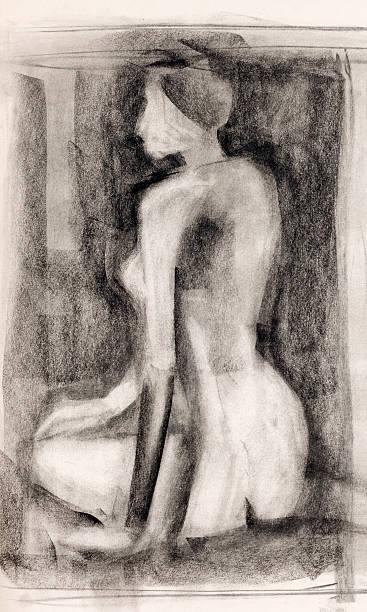woman  body study charcoal drawing vector art illustration