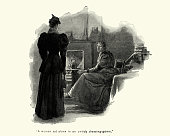 Vintage engraving of a Woman boiling a kettle on stove for tea 19th Century
