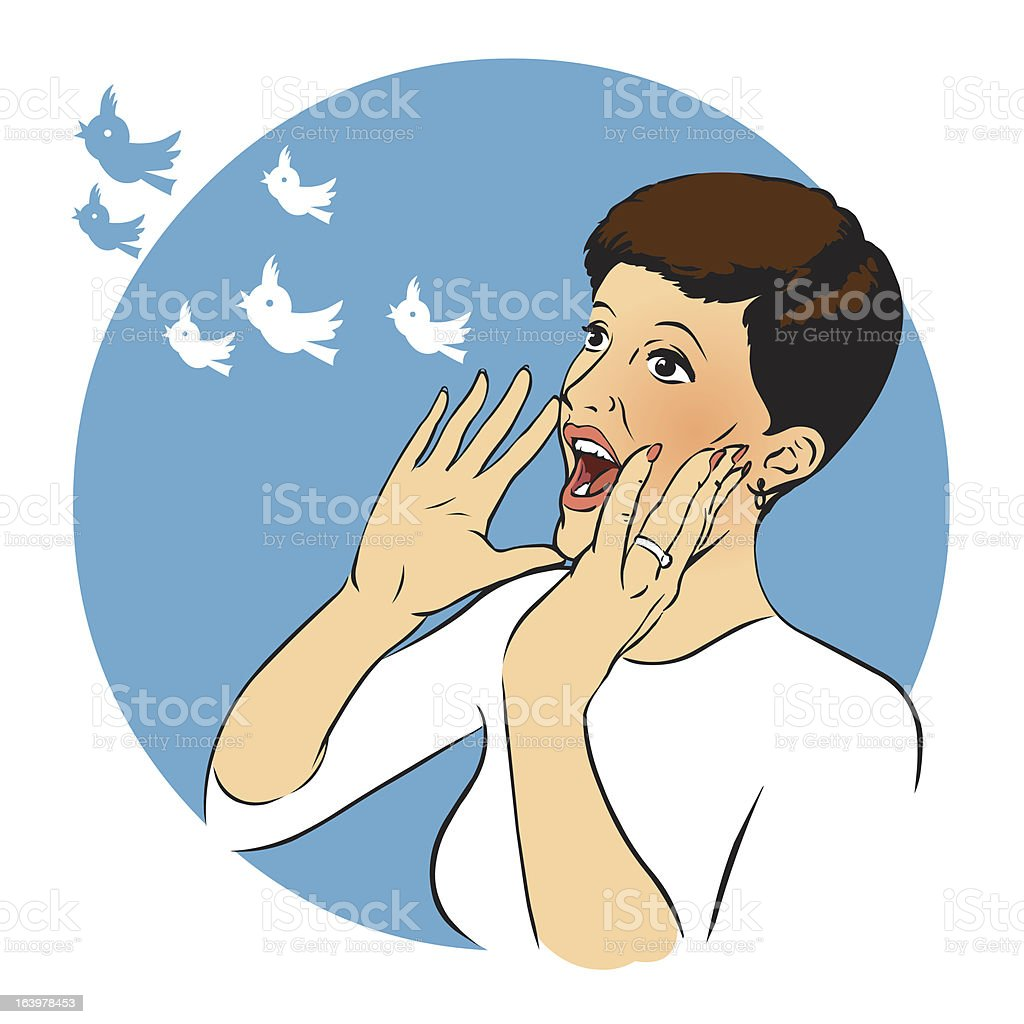 Woman calling out a tweet - Royalty-free Adult stock vector