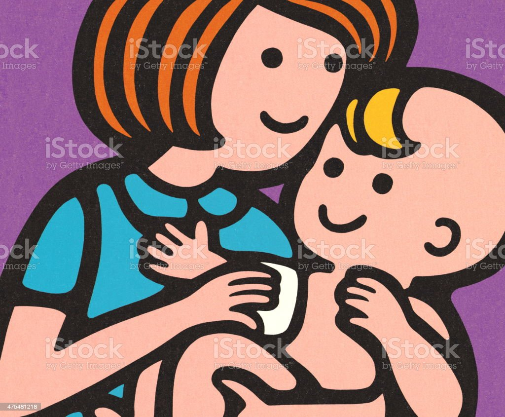Woman Caring for a Baby vector art illustration