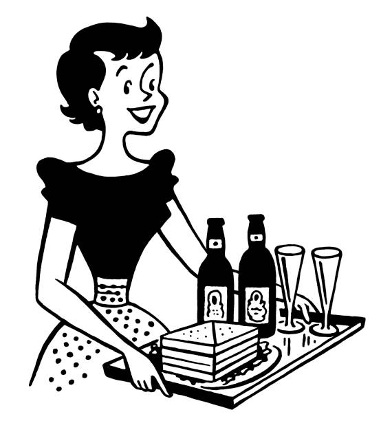 illustrazioni stock, clip art, cartoni animati e icone di tendenza di donna portare un vassoio di panini e bevande - portrait of waiter and waitress holding a serving