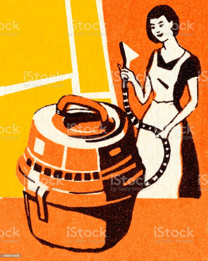 Woman Cleaning With a Canister Vacuum vector art illustration