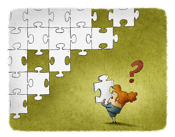 Woman confused with a piece of puzzle vector art illustration