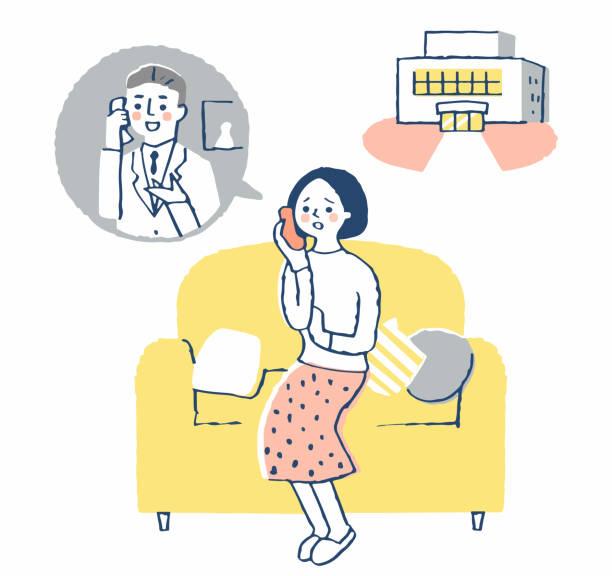 医療機関に電話で相談する女性 - オペレーター 日本人点のイラスト素材/クリップアート素材/マンガ素材/アイコン素材