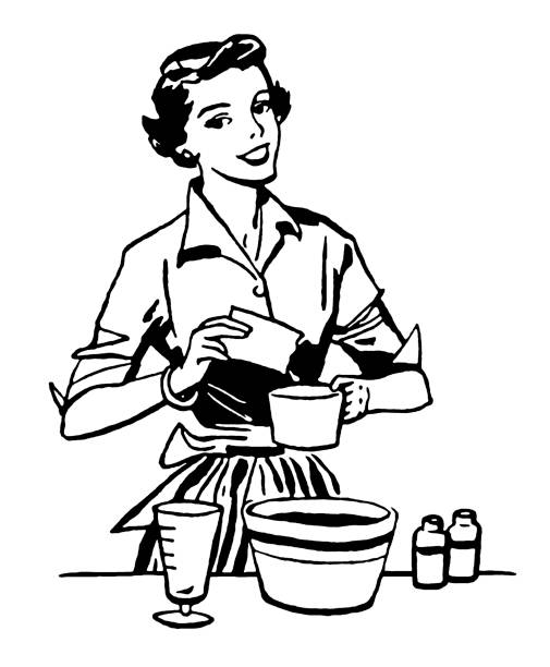 Woman Cooking Woman Cooking cooking black and white stock illustrations
