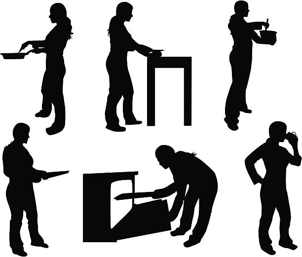 Woman Cooking  cooking silhouettes stock illustrations
