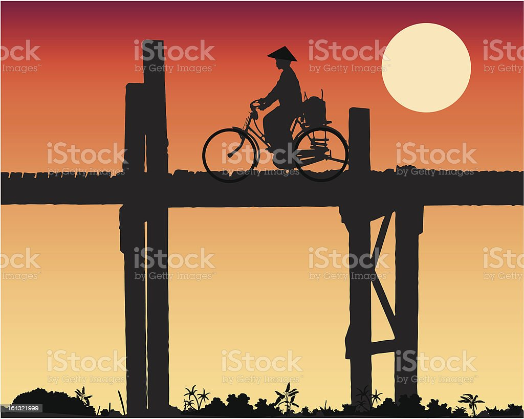 woman crossing a bridge vector art illustration