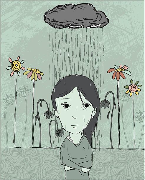 stockillustraties, clipart, cartoons en iconen met woman depressed - bloemen storm