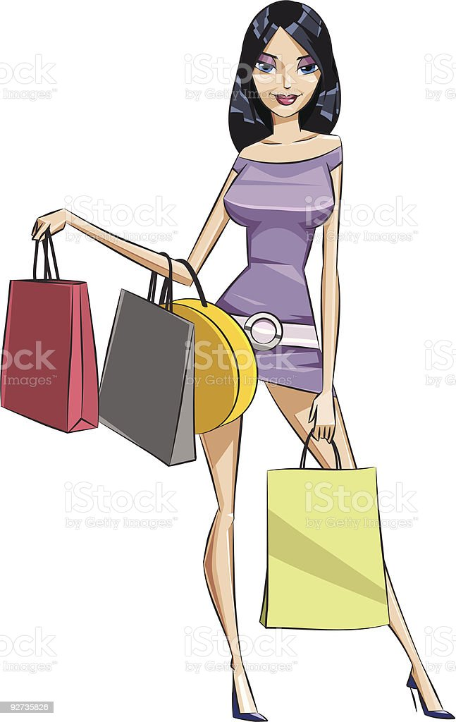 woman does shopping - Royalty-free Adult stock vector