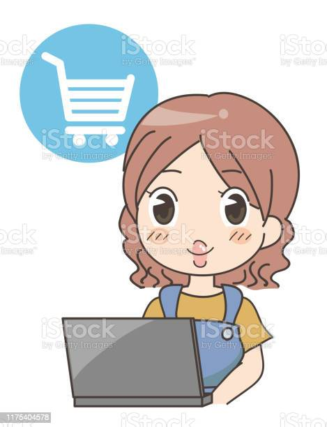 Woman Doing Online Shopping Computerwoman Doing Online Shopping Computer - Immagini vettoriali stock e altre immagini di Acquisti a domicilio