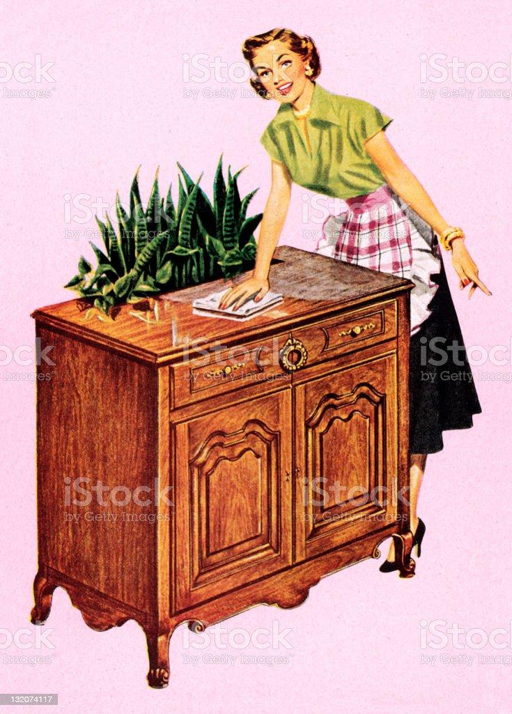 Woman Dusting vector art illustration