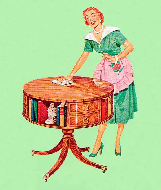 stockillustraties, clipart, cartoons en iconen met woman dusting table - vrouw schoonmaken