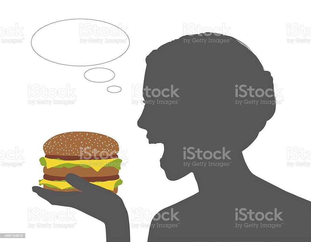 woman eating junk food vector art illustration
