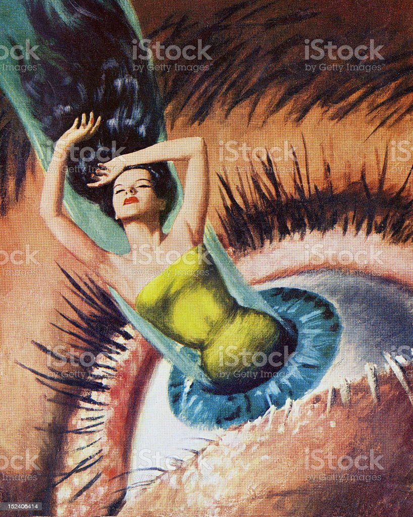 Woman Emerging From Woman's Eye vector art illustration