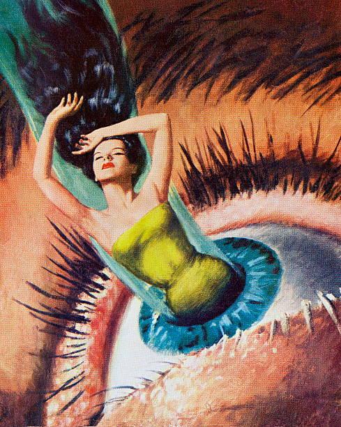 ilustraciones, imágenes clip art, dibujos animados e iconos de stock de mujer provenientes de woman's eye - ojos azules