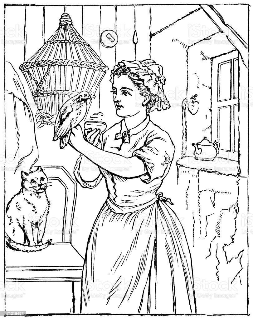 Woman Feeding Bird With Hungry Cat Watching Victorian Drawing Stock