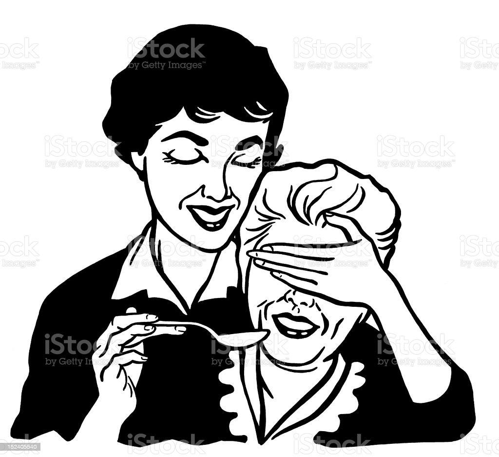 Woman Feeding Older Woman royalty-free stock vector art