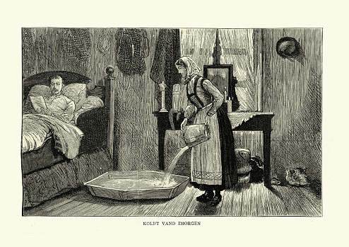 Woman filling shallow bath for a guest, Norway, Victorian