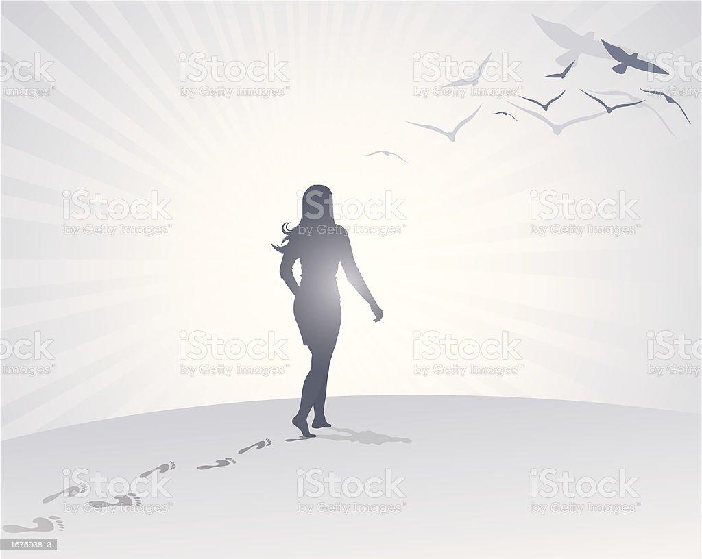 Woman Footsteps vector art illustration