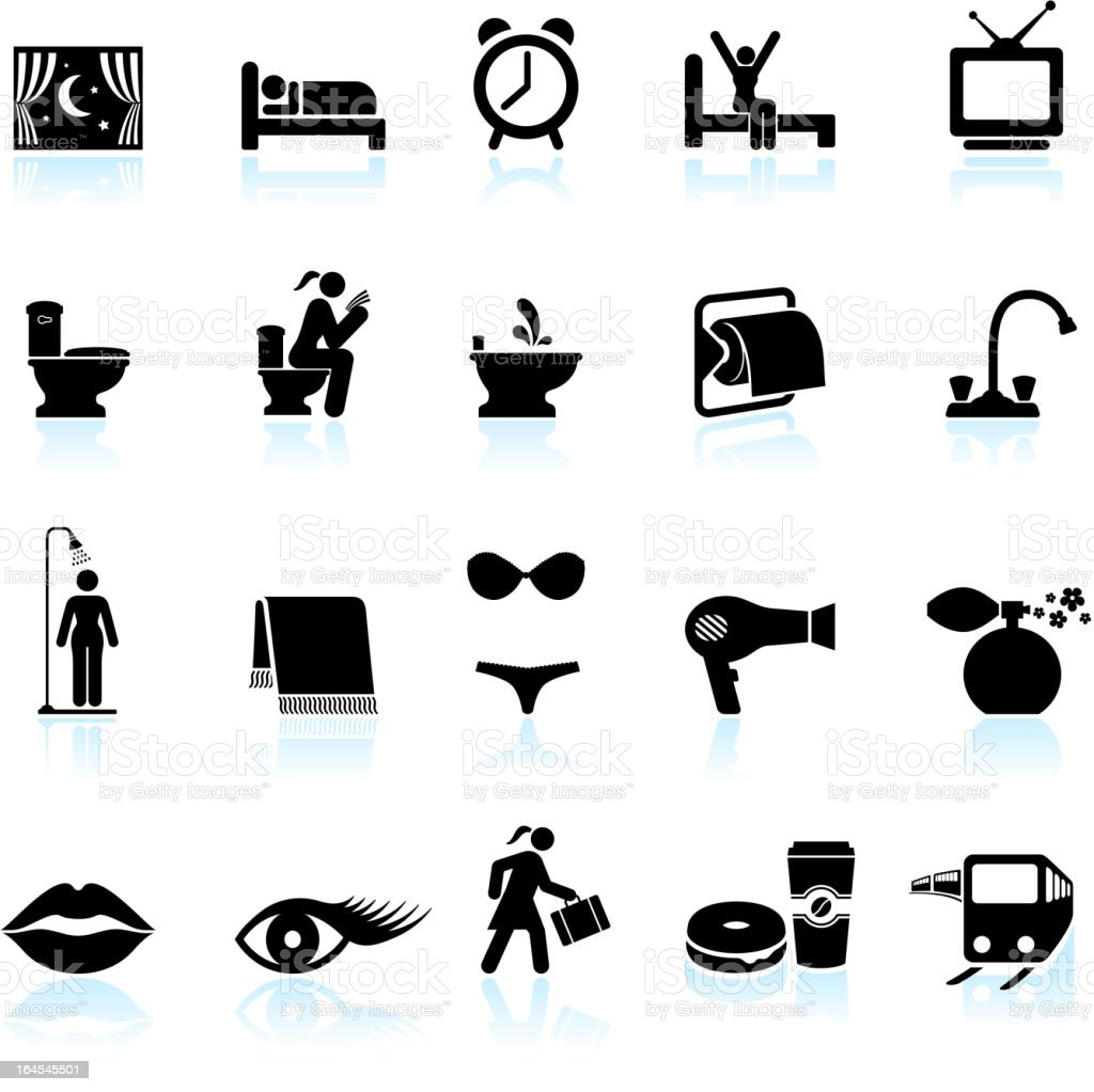 Woman getting ready black and white vector icon set vector art illustration