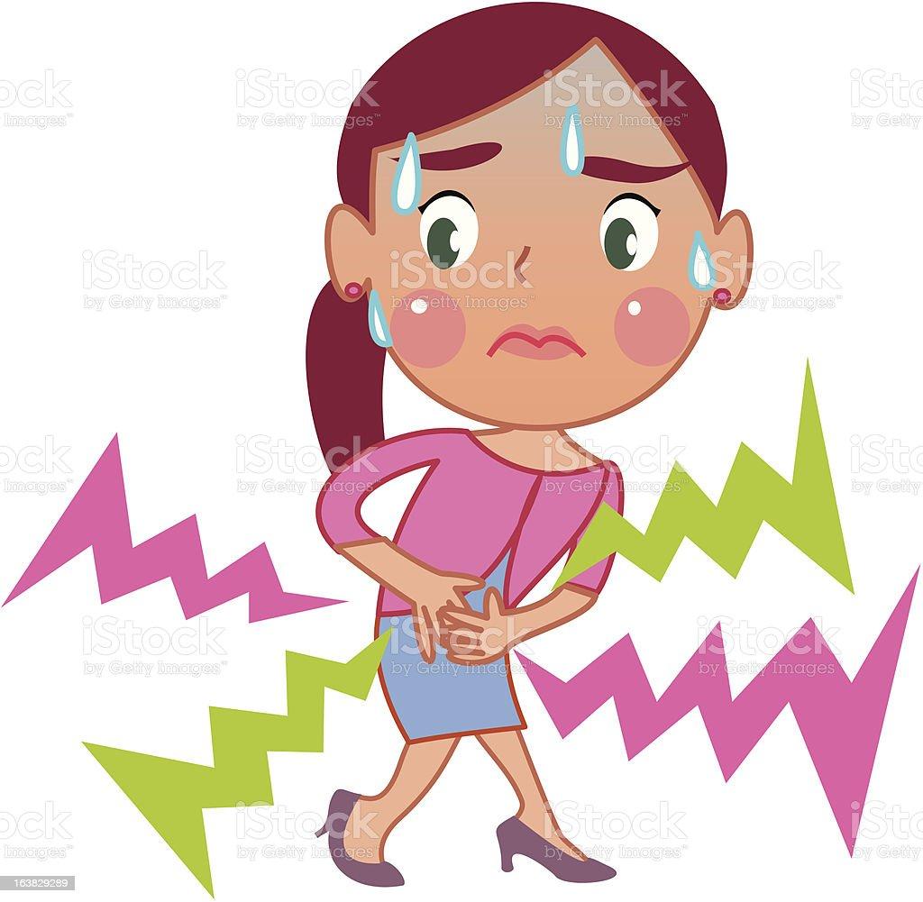Frau mit Bauchschmerzen, Lizenzfreies frau mit bauchschmerzen stock vektor art und mehr bilder von bauchschmerzen