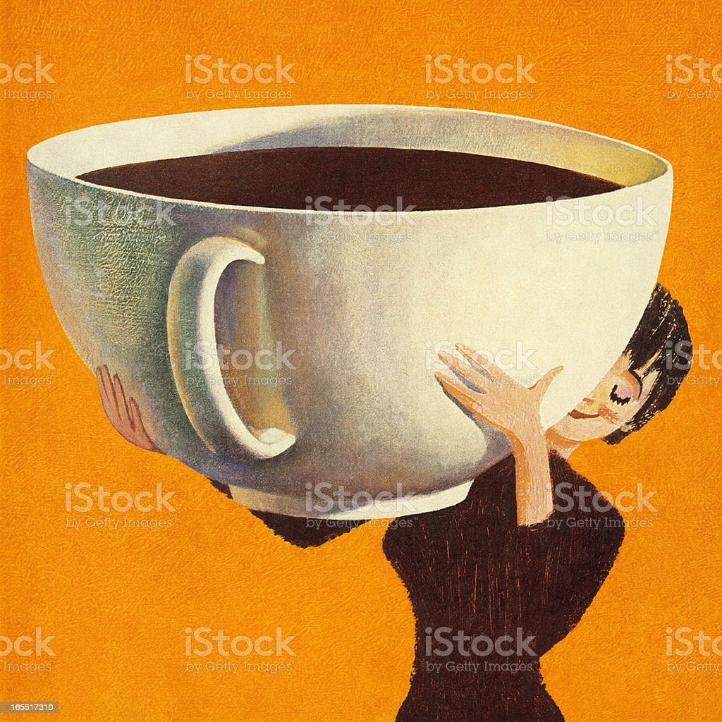 Woman Holding a Huge Cup of Coffee vector art illustration