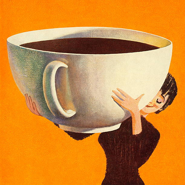 woman holding a huge cup of coffee - coffee stock illustrations, clip art, cartoons, & icons