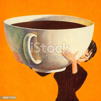 woman holding a huge cup of coffee stock vector art more images of adult 165517310 istock. Black Bedroom Furniture Sets. Home Design Ideas