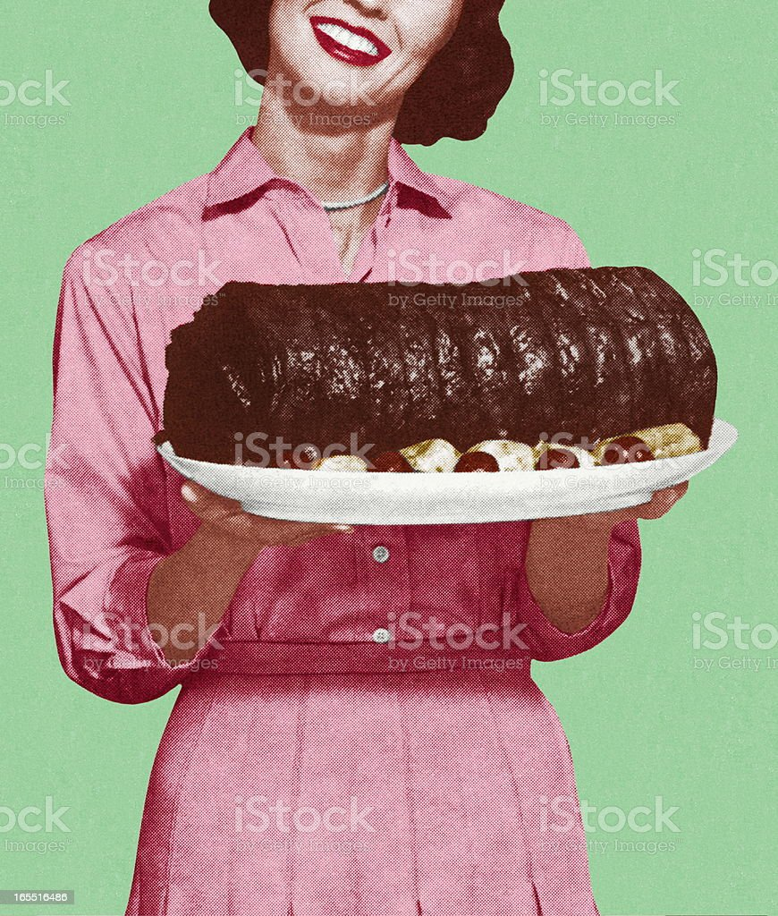 Woman Holding a Large Platter of Meat vector art illustration