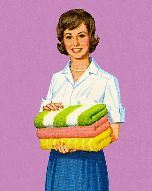 折り返しタオルを持つ女性 - 楽しい 洗濯点のイラスト素材/クリップアート素材/マンガ素材/アイコン素材